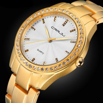 High - Quality Japanese Made Women Analog Rhinestone Stainless Steel Watches