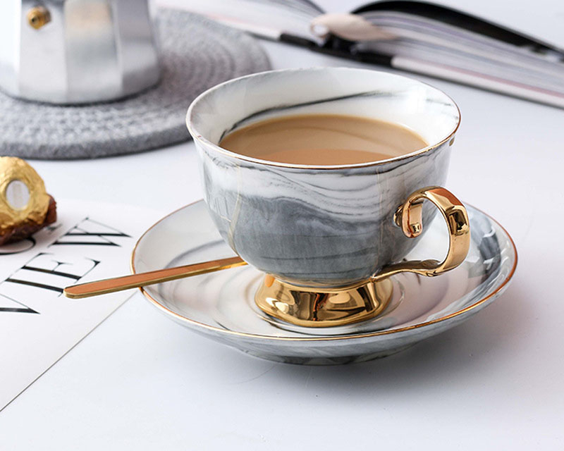 ICESTCHEF 200ML Ceramic Coffee Mug With Saucer Coffee Milk Cup Gold Edge Porcelain Mug Drinkware