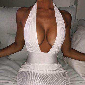 Articat Halter Backless Sexy Knitted Pencil Dress Women White Off Shoulder Long Bodycon Party Dress Elegant Summer Dress 2019