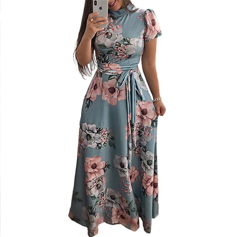 Floral Print Style Dress Casual Short Sleeve Bandage Party Dress
