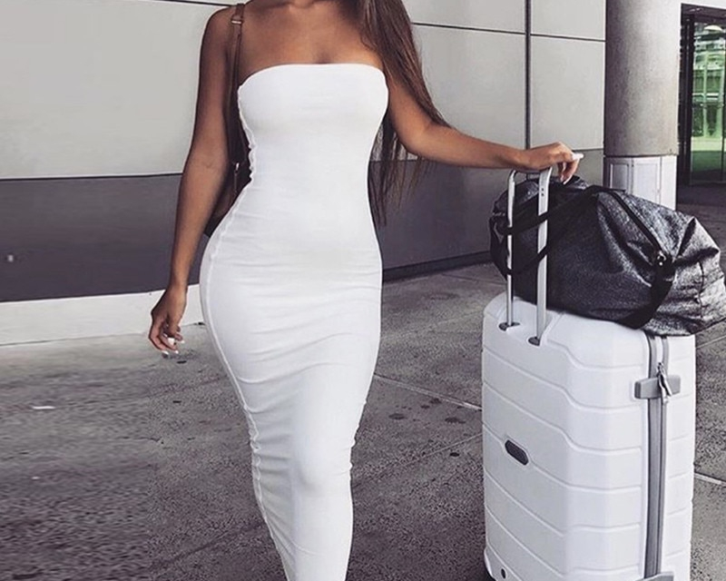 Sibybo Off Shoulder Strapless Sexy Women Dress Sleeveless Straight Long Bodycon Dress Backless Casual Autumn Party Dress Women