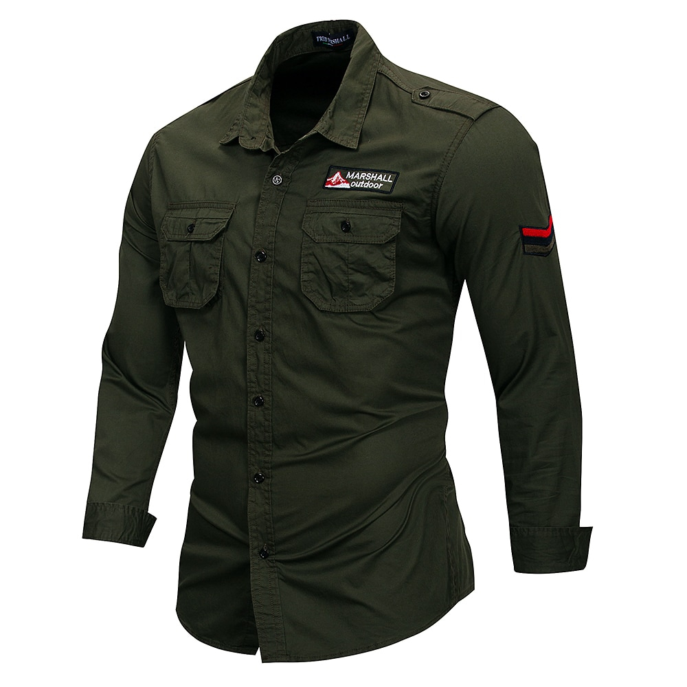 Fredd Marshall 2019 New 100% Cotton Military Shirt Men Long Sleeve Casual Dress Shirt Male Cargo Work Shirts With Embroidery 115