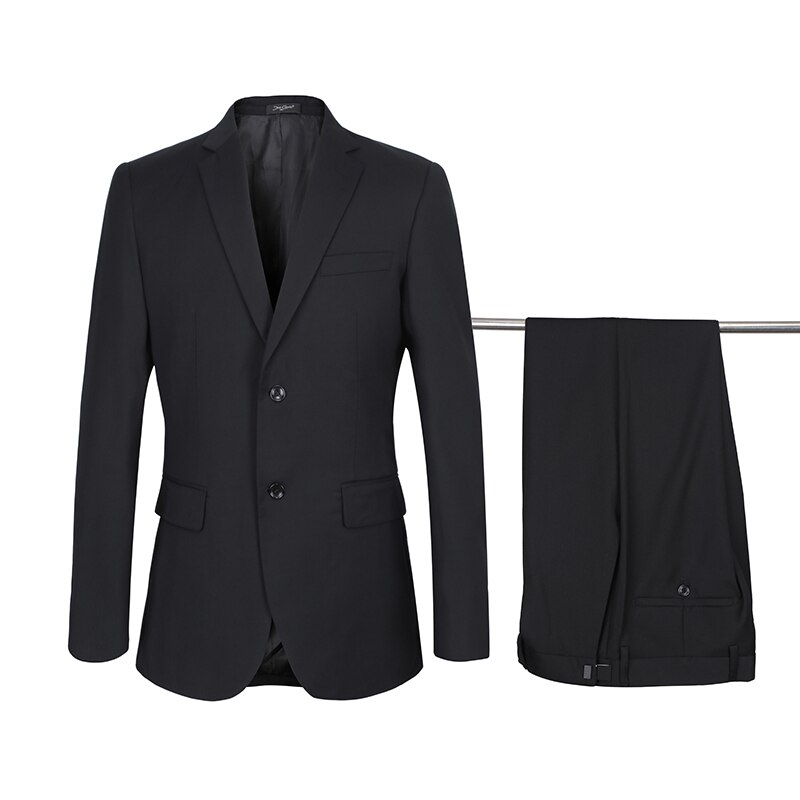 Gray Suits Men Business Casual Adjustment Buckle Blazers Pants Two-buttons