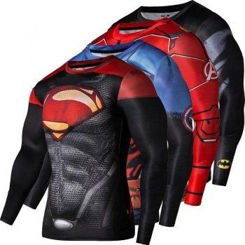 Long Sleeve 3D Printed Men Superhero Fitness T shirt