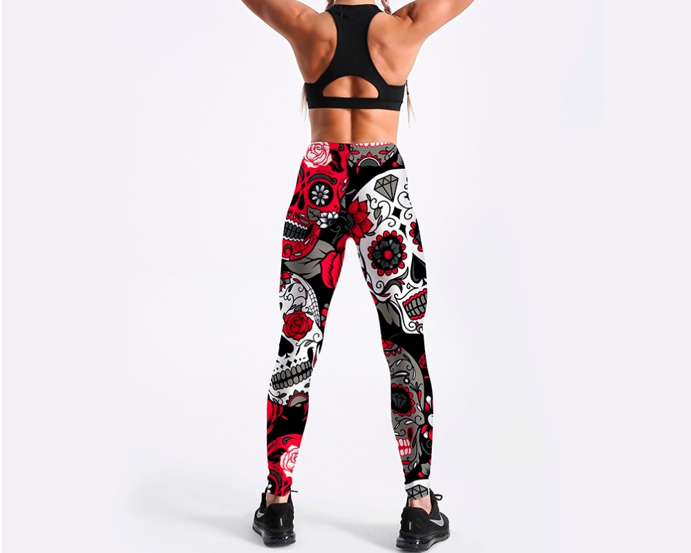 Qickitout Leggings Hot Sell Women's Skull&flower Black Leggings Digital Print Pants Trousers Stretch Pants Plus Size