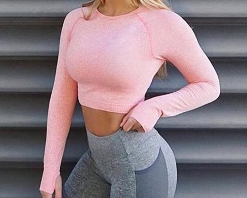 Women's Pink Seamless Long Sleeve Crop Top Yoga Shirts