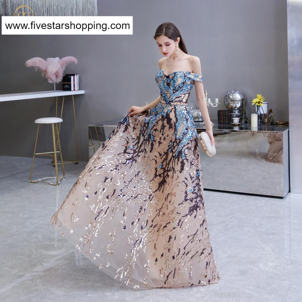 Long Colorful Sequin Off Shoulder Evening Celebration Dress