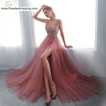Beading V neck Dresses With High Split