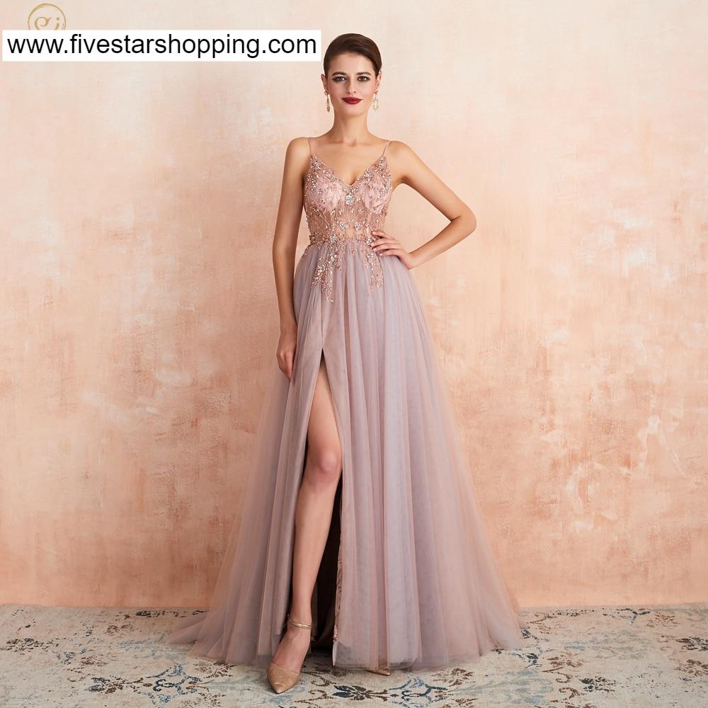 Pink Beaded Dresses Line Split V Neck Spaghetti Strap Evening Gown